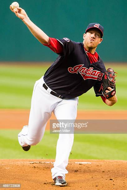 Reliever Zach McAllister of the Cleveland Indians pitches during the first inning against the Chicago White Sox at Progressive Field on April 14 2015...