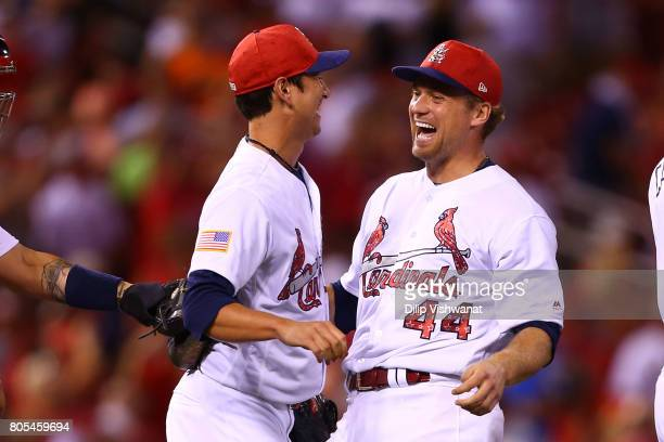 Relievers Matt Bowman and Trevor Rosenthal of the St Louis Cardinals celebrate after beating the Washington Nationals at Busch Stadium on July 1 2017...
