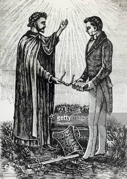 Religion Personalities Illustration pic 19th century The Angel Moroni delivering the Golden Plates and the Urim and Thummim to Mormon leader Joseph...