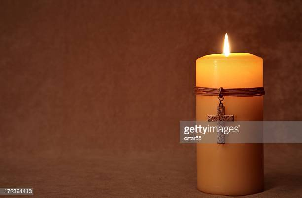 Religious: burning Candle with Cross and copy space Series