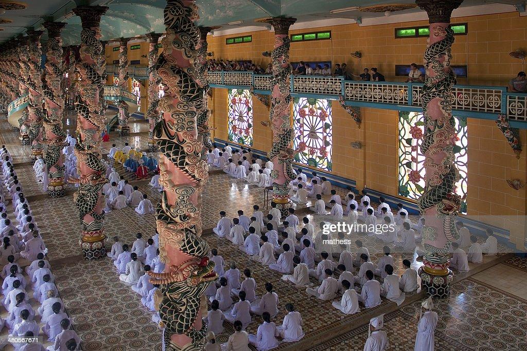 Religious ceremony in Cao Dai Temple : Stock Photo