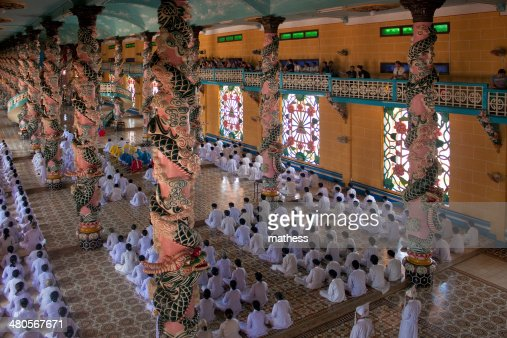 Religious ceremony in Cao Dai Temple : Stock Photo