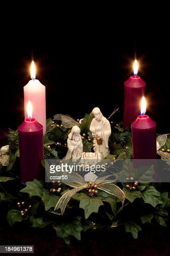 Religious: Christmas Advent Wreath with Nativity Scene
