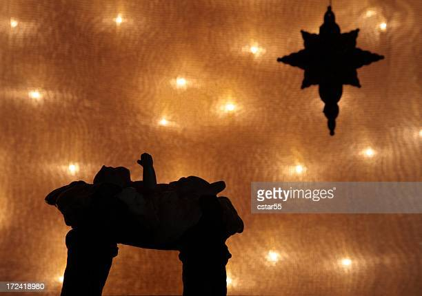 Religious : Christmas Nativity silhouette on gold background