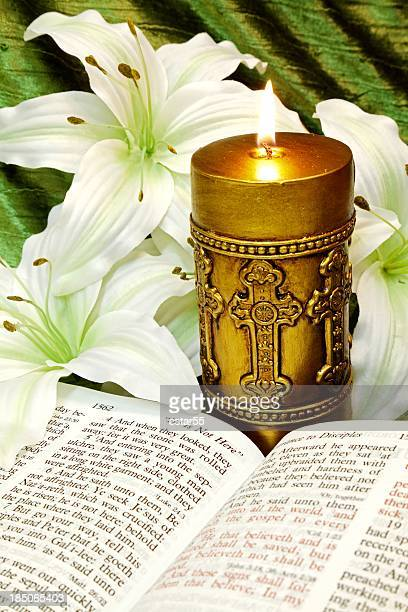 Religious: Easter Bible Scripture with Candle, Cross and Lilies