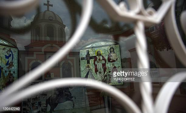 TO Religious images inside a mausoleum of the 'Humaya Gardens' cementery on July 13 2011 in Culiacan Sinaloa state Mexico In a private cemetery in...