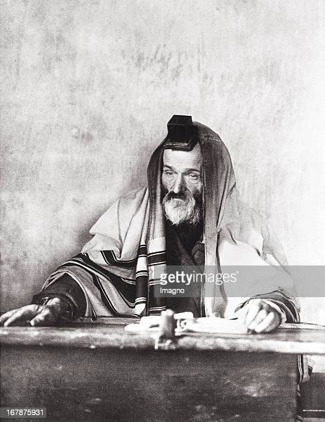 Religious Jew wearing Tefilin and Tallit RussiaPoland Photograph About 1914 Frommer Jude mit Tefilin und Gebetsmantel RussischePolen Photographie Um...