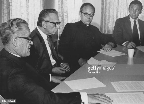Religious Leaders confer on EndOfWar Statement From Left R Marvin Stuart Rabbi Earl Stone Franklin Heglund Verne Henderson representing George Otto...