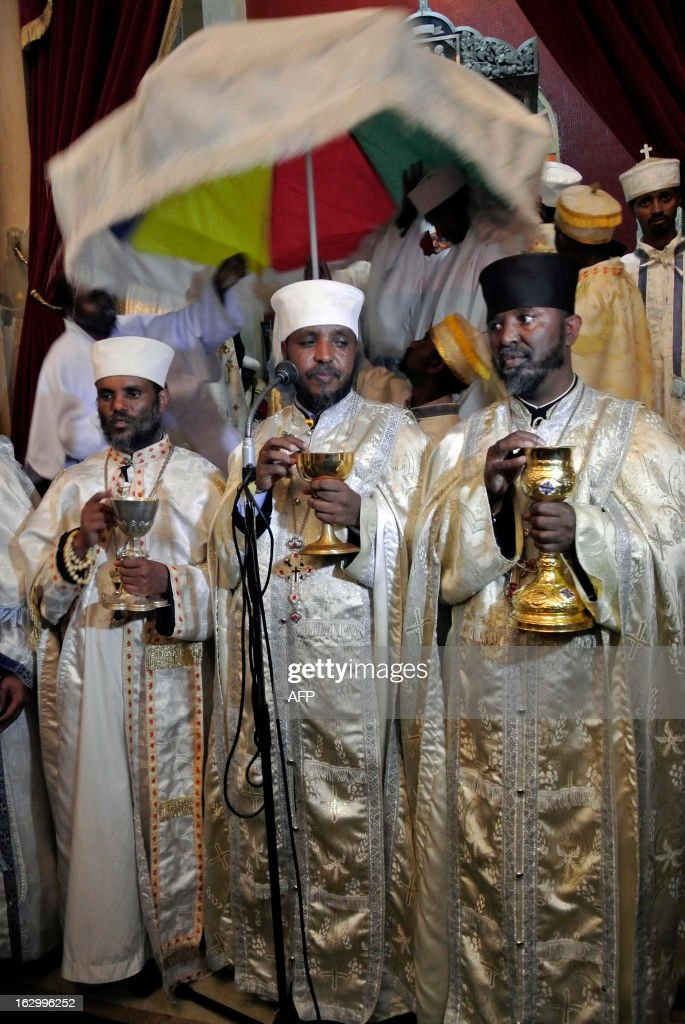Religious leaders gather at Holy Trinity Cathedral in Addis Ababa on March 3, 2013 for the swearing in ceremony of the newly-elected Patriarch of Ethiopia's Orthodox Christian Church, Abune Mathias. Formerly the archbishop of the Ehiopian Orthodox Church in Jerusalem, Abune Mathias was elected last week, following the sudden death of the previous previous Patriach in August. About two thirds of Ethiopia's 83 million people are Christian, according to official figures, with the majority following the Orthodox faith.