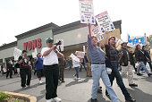 Religious Los Angeles community labor and elected leaders participate in civil disobedience at a Vons supermarket on Fairfax Avenue at Pico Boulevard...