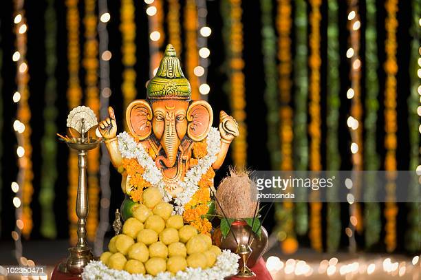 Religious offering in front of the Idol Lord Ganesha at Diwali
