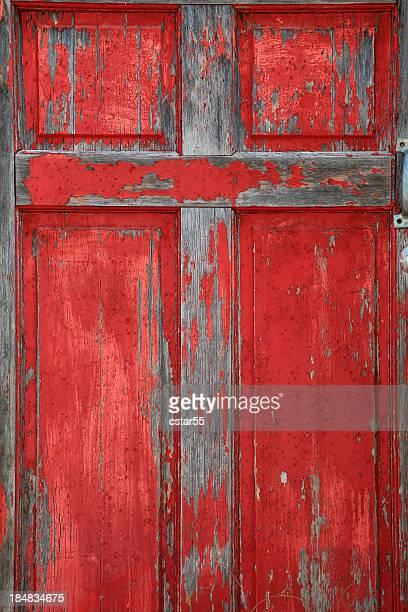 Religiöse: Alte Holz red Door mit Kreuz