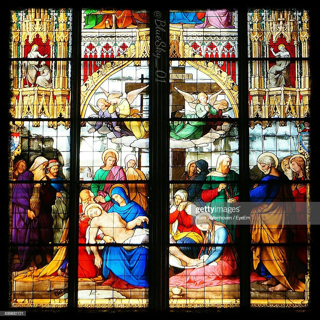Religious Painting On Stained Glass In Church