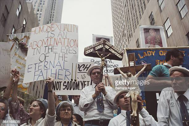 Religious protestors show their displeasure on the route of the Gay Pride parade in New York City USA June 1983