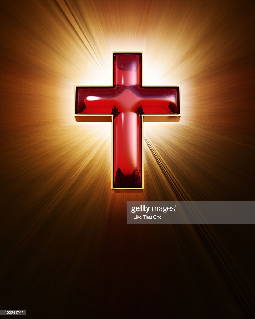 Religious red cross with rays of light : Stock Photo