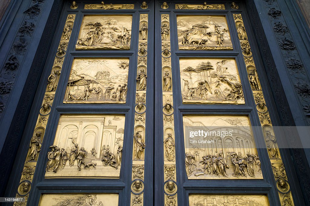 Religious scenes in gold on bronze on the Baptistry doors of Il Duomo di Firenze & Religious Scenes Baptistry Cathedral of Florence Italy Pictures ... Pezcame.Com