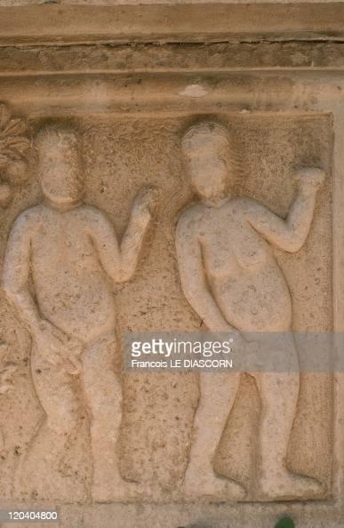 Religious Sculpture In Vis Croatia Adam et Eve