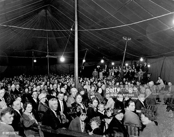 A religious tent revival meeting Cedar Rapids Iowa late 1920s or early 1930s