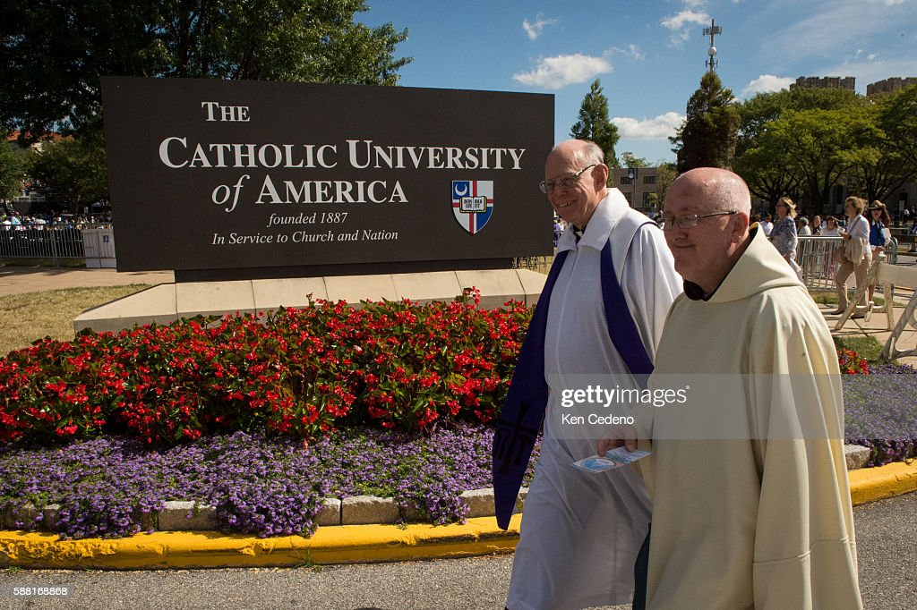 Religous clergy walk in front of the Basilica of the National Shrine of the Immaculate Conception /The Catholic University of America Sept 23 2015 in...