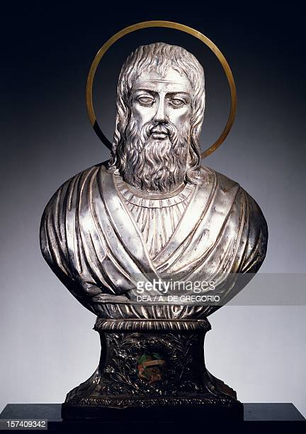 Reliquary bust in silverplated copper foil Basilica of Sant'Eustorgio Milan Italy 19th century