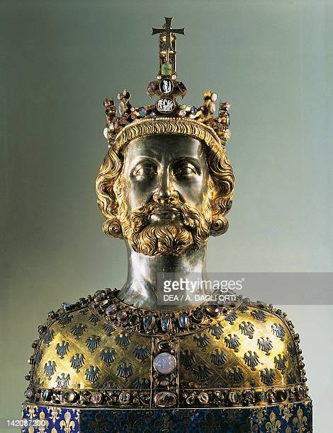 Reliquary bust of Charlemagne 1349 Goldsmith's art Germany 14th century