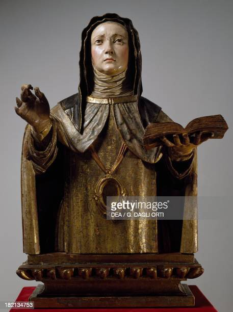Reliquary bust of saint Teresa of Avila polychrome and gilded wooden sculpture Spain 17th century Toledo Museo De Santa Cruz