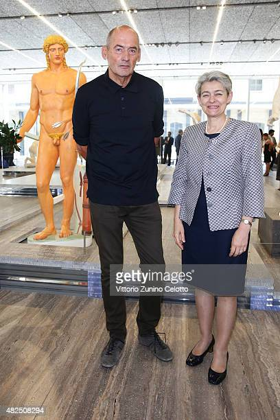 Rem Koolhaas and Irina Bokova visits Fondazione Prada on July 31 2015 in Milan Italy