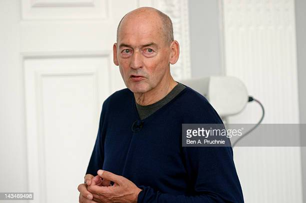 Rem Koolhaas attends a briefing to reveal the full details of a new home for the Garage Center in Moscow which is moving from its original home...