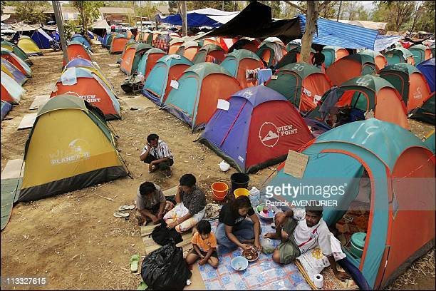 Remain Homeless On Month After The December 26Th Tsunami On January 25Th 2005 In Khao Lak Thailand 5000 Tsunami Survivors Of The Khao Lak Area Still...