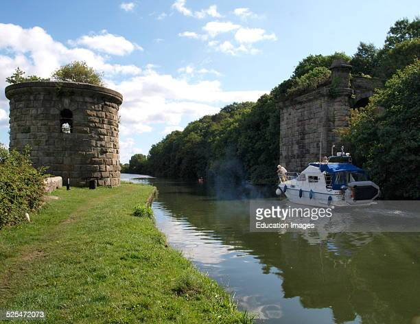 remaining pillar and Tower of swing section of the Severn and Wye Railway over the canal Most of the bridge was demolished after the disaster Purton...