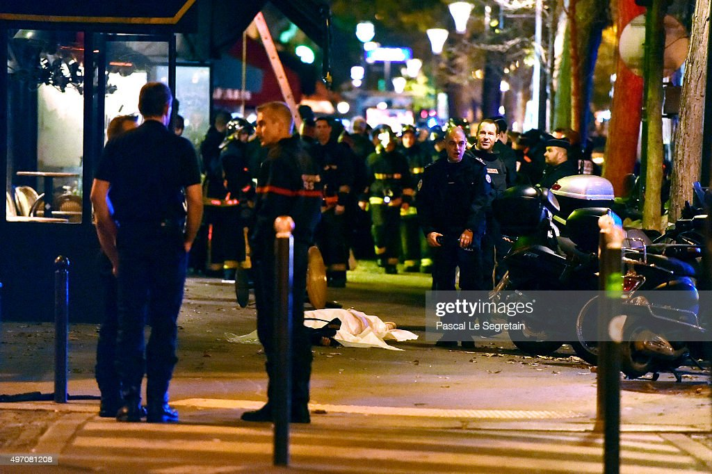 Remains are seen outside the Bataclan concert hall after an attack on November 13 2015 in Paris France According to reports over 150 people were...