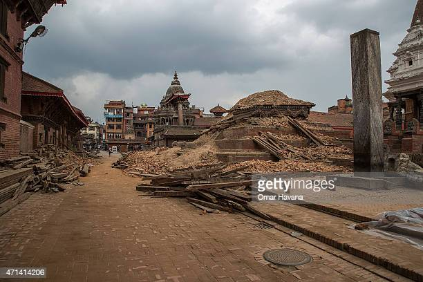 Remains of a collapsed temple in the UNESCO World Heritage Site of Patan Durbar Square on April 28 2015 in Lalitpur Nepal A major 78 earthquake hit...