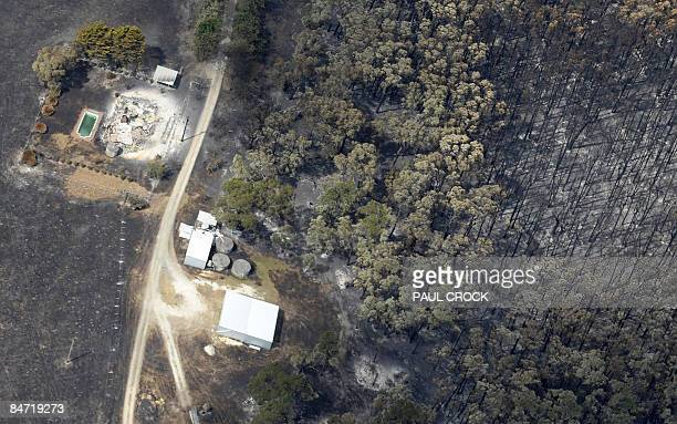 Remains of a farm house destroyed by the Bunyip wildfire which burnt through thousands of hectares of farmland and the Bunyip State Forest in LaTrobe...