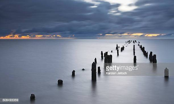 Remains of a groyne, North Sea, Wremen, Lower Saxony, Germany, Europe
