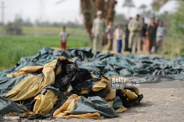 Remains of a hot air balloon is seen at the site of an accident in Luxor on February 26 2013 A hot air balloon exploded and plunged to earth at...