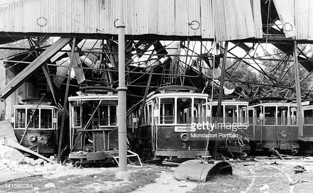Remains of a streetcar depot in Chisinau as the city is being reoccupied by Romanian troops Chisinau July 1941
