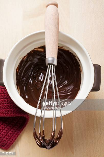 Remains of chocolate sauce in pot and on whisk