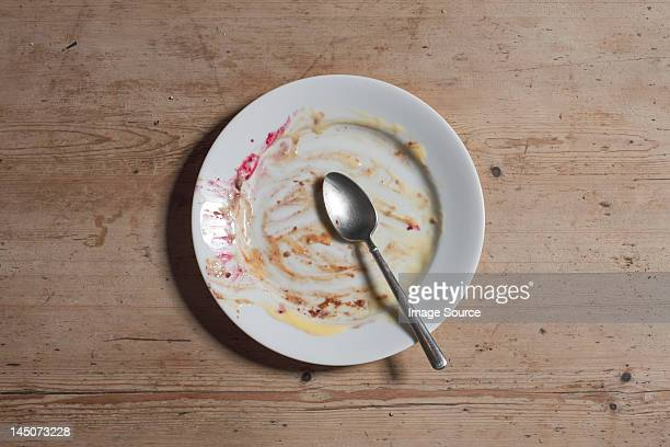 Remains of eaten pudding on plate