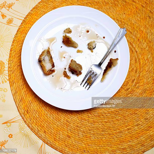Remains of French toast on plate with fork
