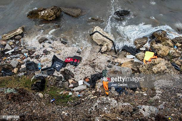 Remains of migrant journey on Lesbos, Greece