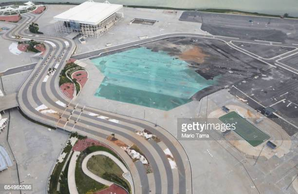 Remains of tennis facilities stand in Olympic Park on March 17 2017 in Rio de Janeiro Brazil Seven months after the Rio hosted the first Olympic...