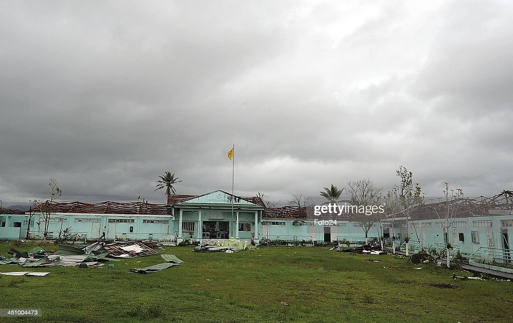 Remains of the Abuyog community college on November 20, 2013, in Abuyog, Philippines. Rescue SA's field clinic serves the community because the hospital has been distroyed by typhoon Hyaina. The typhoon hit the Philippines on November 8, 2013, and was recorded as the second deadliest typhoon in that region.