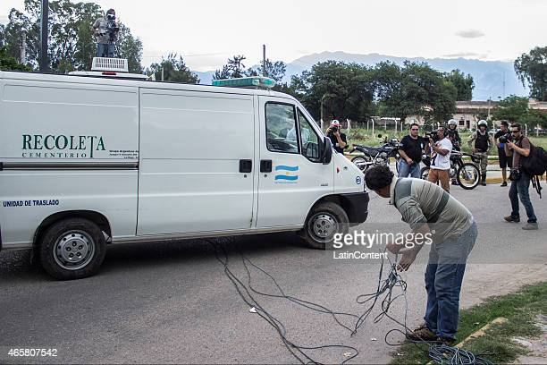 Remains of the deceased after two helicopters crashed while filming 'Dropped' a reality TV show in the Argentinian province of La Rioja arrive to the...