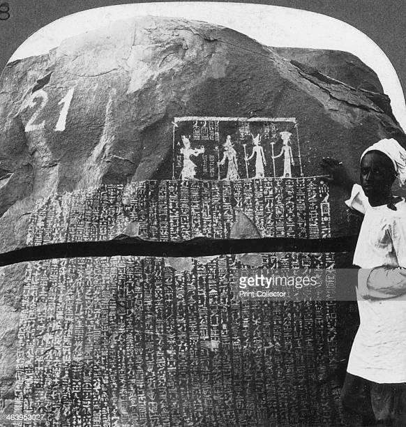 'Remarkable inscription of a Seven Year Famine on an island in the Nile Egypt' 1905 'The rocks on these islands are covered with inscriptions They...