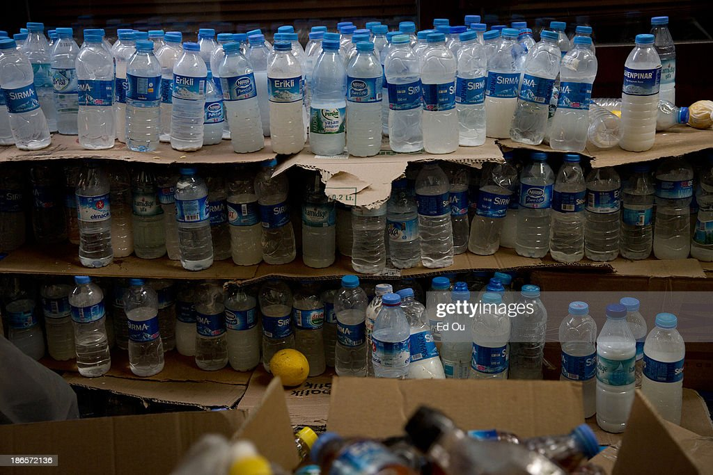 Remedies for teargas are stored in Gezi Park for use during clashes with police in Istanbul Turkey on June 4 2013 Demonstrations have sprout up...