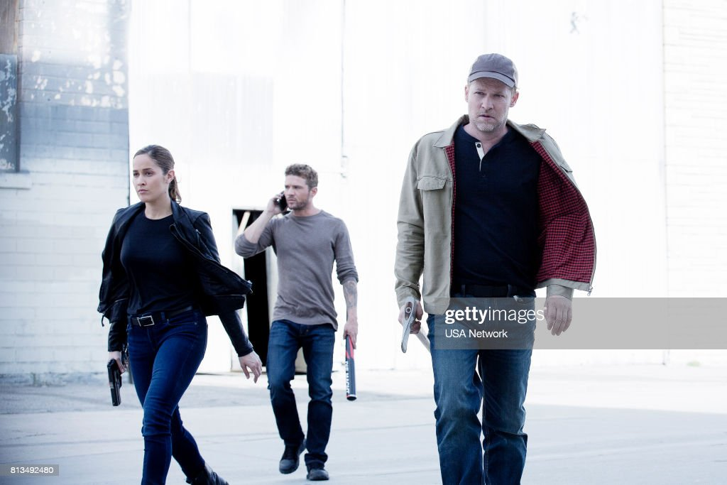 SHOOTER -- 'Remember the Alamo' Episode 202 -- Pictured: (l-r) Jaina Lee Ortiz as Angela Tio, Ryan Phillippe as Bob Lee Swagger, Todd Lowe as Colin Hobbs --