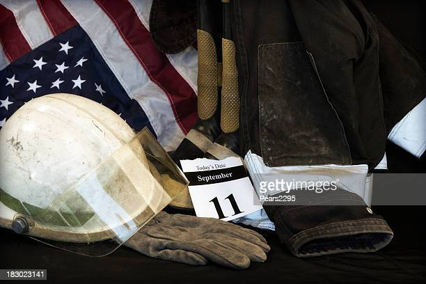 9-11 remembered with an American flag