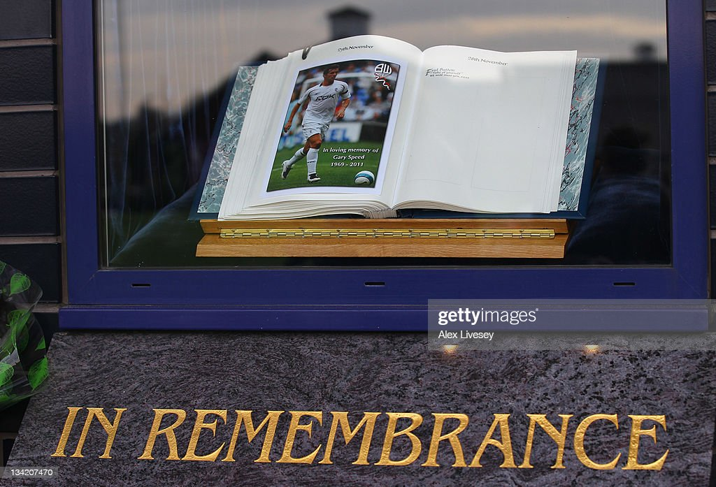 A remembrance book for footballer and ex Bolton Wanderers player Gary Speed is seen at the Reebok Stadium the home ground of Bolton Wanderers FC on November 28, 2011 in Bolton, United Kingdom.