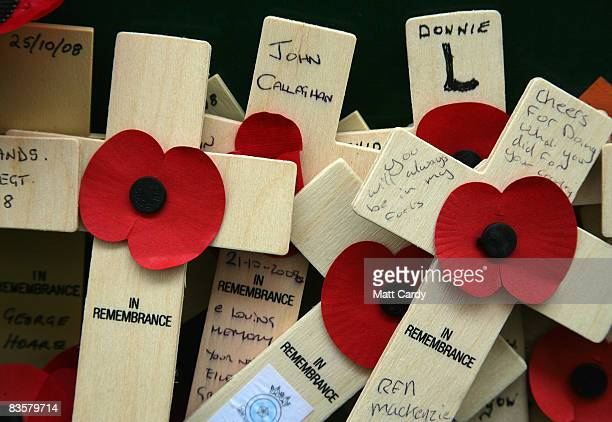 Remembrance crosses are left on a a wall displaying the names of the missing on the Menin Gate Memorial on November 5 2008 in Ypres Belguim The...