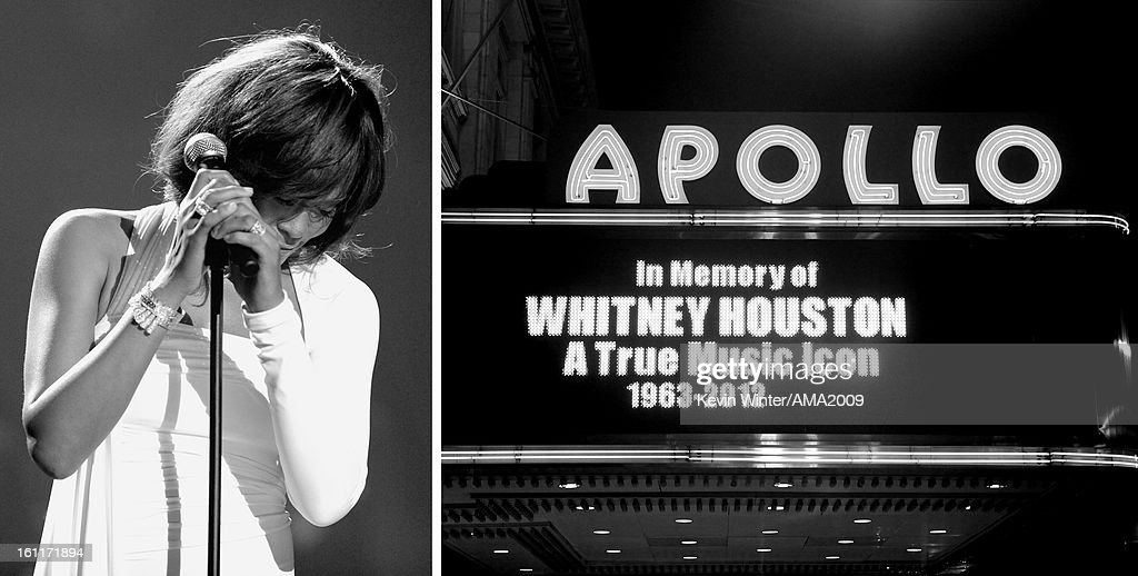 Images have been converted to black and white.) (FILE PHOTO) In this composite image a comparison has been made for the first anniversary of the death of Whitney Houston (L) using the marquee at the Apollo announcing her death (R). The singer was found dead one year ago in her hotel room at The Beverly Hilton hotel on February 11, 2012. NEW YORK, NY - FEBRUARY 12: Remembrances of singer Whitney Houston are seen around Harlem's Apollo Theatre on the streets of Manhattan on February 12, 2012 in New York City. Singer Whitney Houston died on February 11, 2012 at The Beverly Hilton hotel in Beverly Hills, CA.